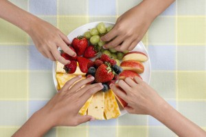 Healthy Fruit Snack Plate with cheese