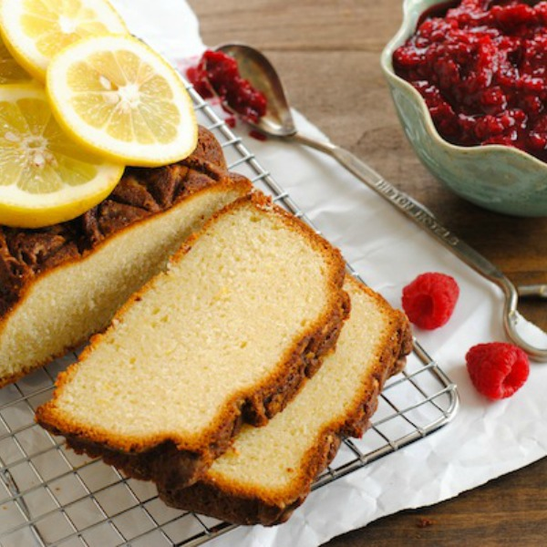 Lemon Pound Cake with Raspberry Compote 600x600