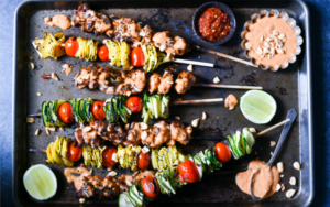 spicy peanut chicken skewers-alt image