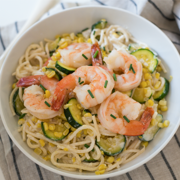 Cheesy Summer Veggie Pasta with Shrimp-featured image