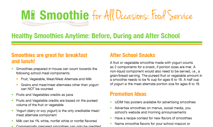 Smoothies in Schools - United Dairy Industry of Michigan
