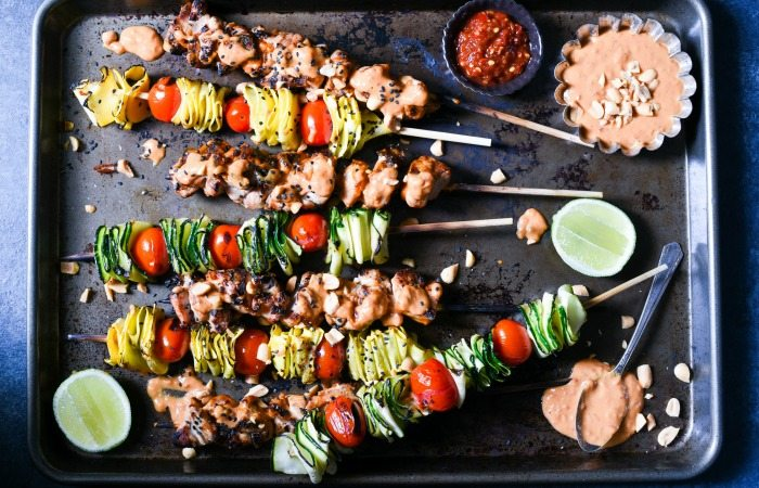 Spicy Chicken Peanut Skewers
